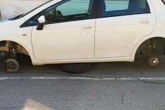 Modugno, escono per andare a lavoro e trovano l'auto senza ruote