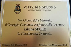 """Modugno conferisce la cittadinanza onoraria a Liliana Segre: """"La democrazia non va violata"""""""