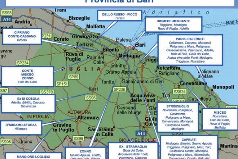La mappa della criminalit in provincia di Bari